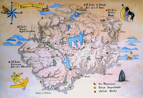 La carte de la chasse au trésor en Lévézou